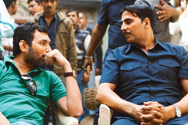 Pandey (left) on the set of the film with Akshay Kumar